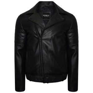 Image displays the men's black biker jacket made from real leather by Barneys Originals. The jacket is shot on an invisible mannequin and the jacket is slightly unzipped to expose the asymmetric fit.