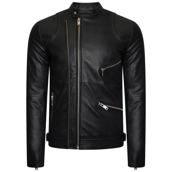 Image displays a black real leather bicker jacket with silver hardware, double zip and two pockets. The jacket is not worn by a model but is shot on an invisible mannequin. Please see Instagram for real customer feedback and images.