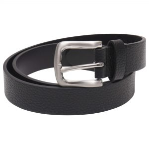 Image displays a barneys originals men's leather belt. The belt is black and the buckle is silver.