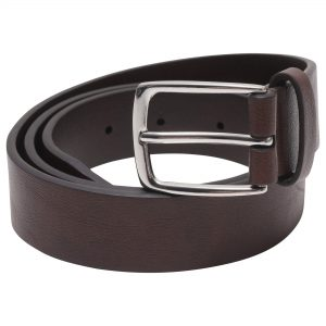 Image displays the men's brown leather belt rolled up with the silver buckle displayed clearly at the top of the stack.