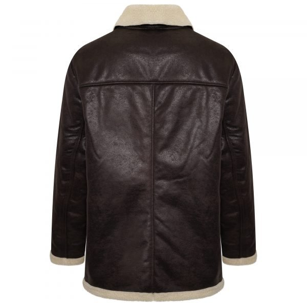 This image shows the Barneys Plus size faux shearling jacket from the back.