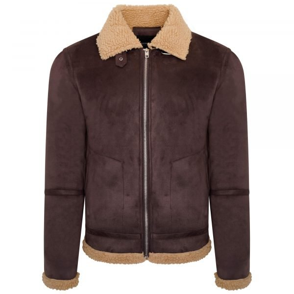 Image displays a faux shearling jacket pictured on an invisible mannequin to mimic the shape of a body. The jacket has dark down outer material made from faux suede and the faux shearling lining covers the collar and hems of the item.