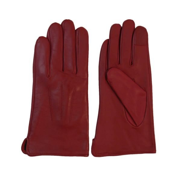 This image shows women's red barneys originals gloves from the front and back