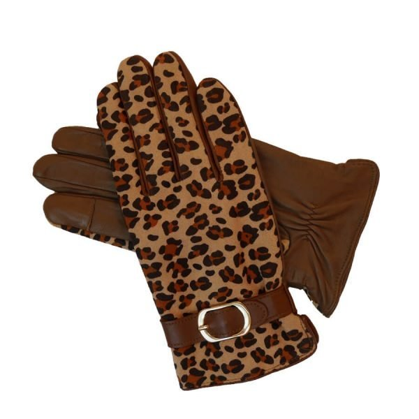 This is an image of some Barneys Originals leopard print leather gloves.
