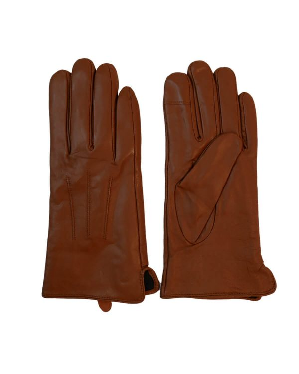 This image shows a pair of Barneys Originals women's brown leather gloves