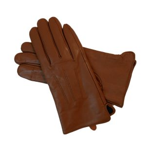This image shows a Barneys Originals pair of women's brown leather gloves.