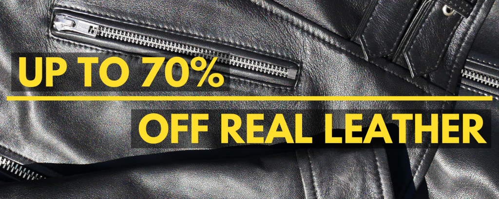 Banner reads: up to 70 off mens real leather.