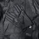 black croc gloves on snake print jacket