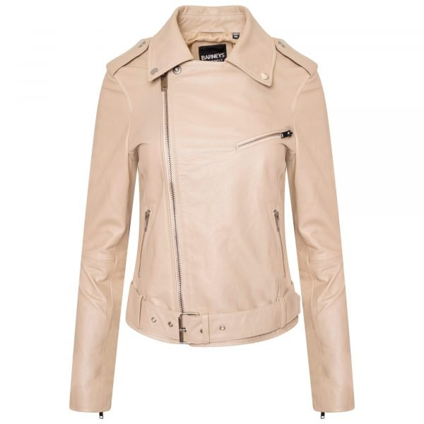 Image displays a cream coloured leather asymmetric biker jacket with silver hardware. The jacket is on an invisible mannequin and is fully zipped up.