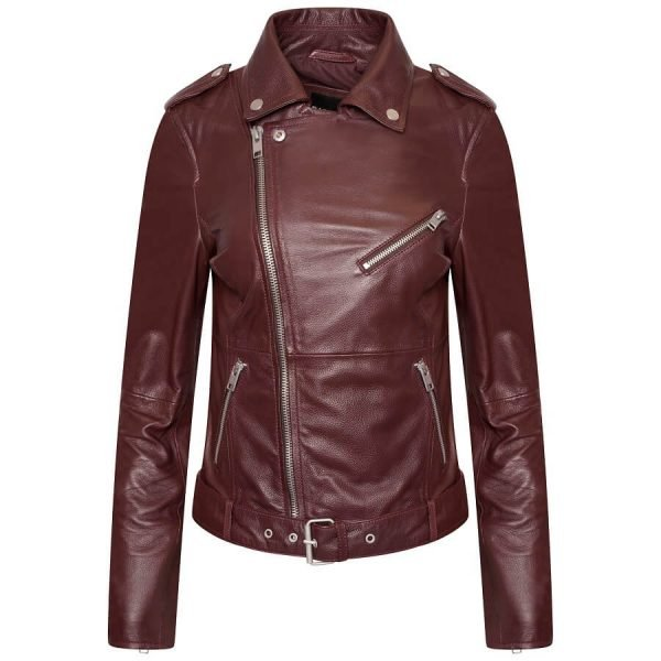 Image displays a wine red real leather jacket from barneys originals on an invisible mannequin.