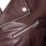 wine red leather jacket from barneys originals close up