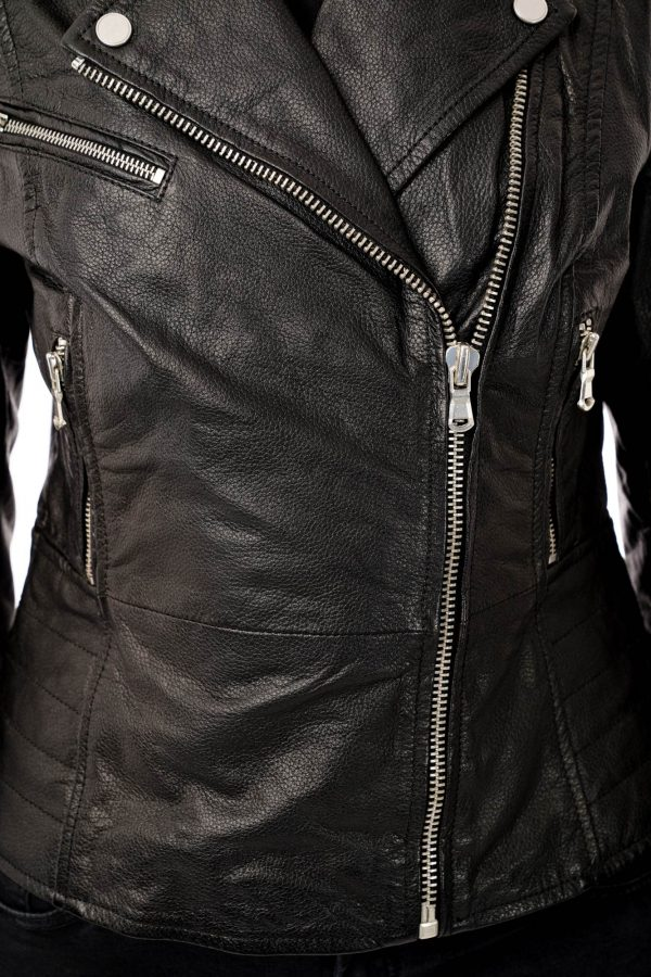 Image displays a close up of the leather texture. You can see that the leather is black and has a subtle grained texture.