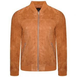IMage displays a tan suede bomber jacket shot on an invisible mannequin from the front.