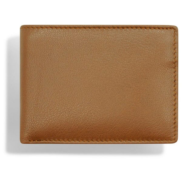 The image shows the tan leather wallet shot from above. You can see that the leather is very smooth with a fine grain.