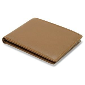 This image displays how thin the wallet is when folded over. The wallet folds to close and does not have a zip or button.