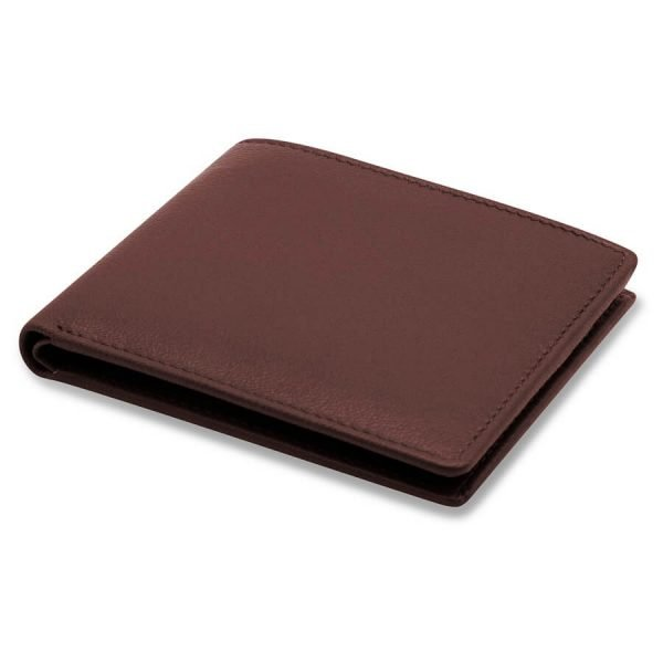 Image displays a simple brown leather wallet made by Barneys Originals. The item is folded closed with no zip or buttons.