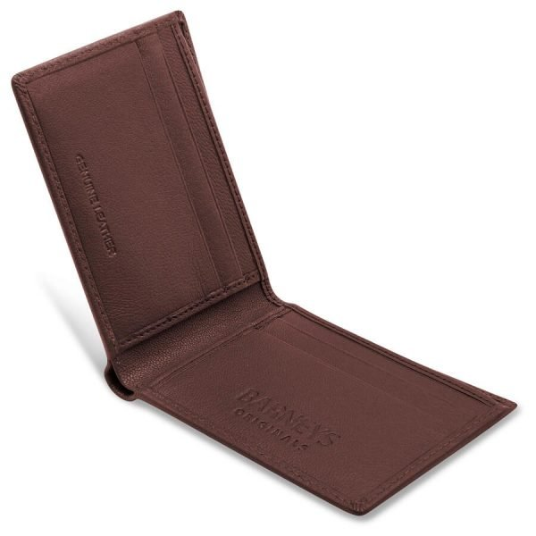 Image features a brown leather wallet open with 4 card slots. The words Barneys Originals are also embedded in the leather texture.