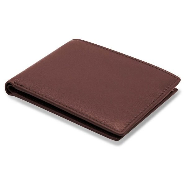 Image displays the width of the brown leather wallet to display the slimline design. This folded wallet has been created to reduce pocket bulk.