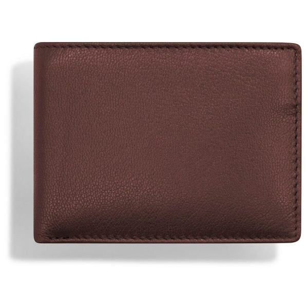 Image shows a birds eye view of the wallet from above to show the smooth surface of the leather texture. This wallet is made from goat leather so the grain is fine and smooth.
