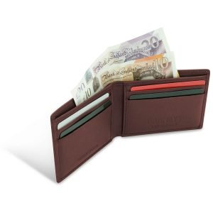 Image displays what the brown leather wallet will look like when filled with cards and cash. This is a sample image to display the versatility of the item.