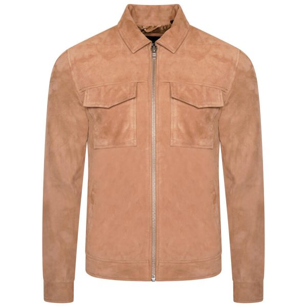 Image displays the front of the suede jacket from Barneys Originals. It is a warm cream colour and has a silver center zip. The jacket has a shirt collar, long sleeves and two chest pockets.