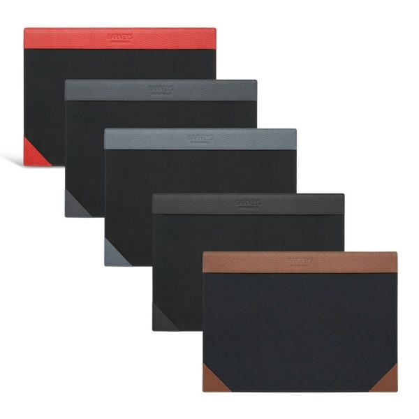 Image displays 5 leather and felt writing pad in varying colours stacked on top of each other. From bottom left to bottom right, the colours are as follows: red, navy. slate grey, black and brown
