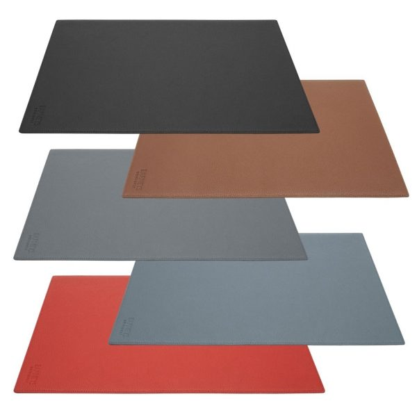Image displays stacked mouse pads made from real leather by Barneys Originals. The mouse pads are in various colours. From top to bottom the colours are as follows: black, brown, navy, slate grey and red