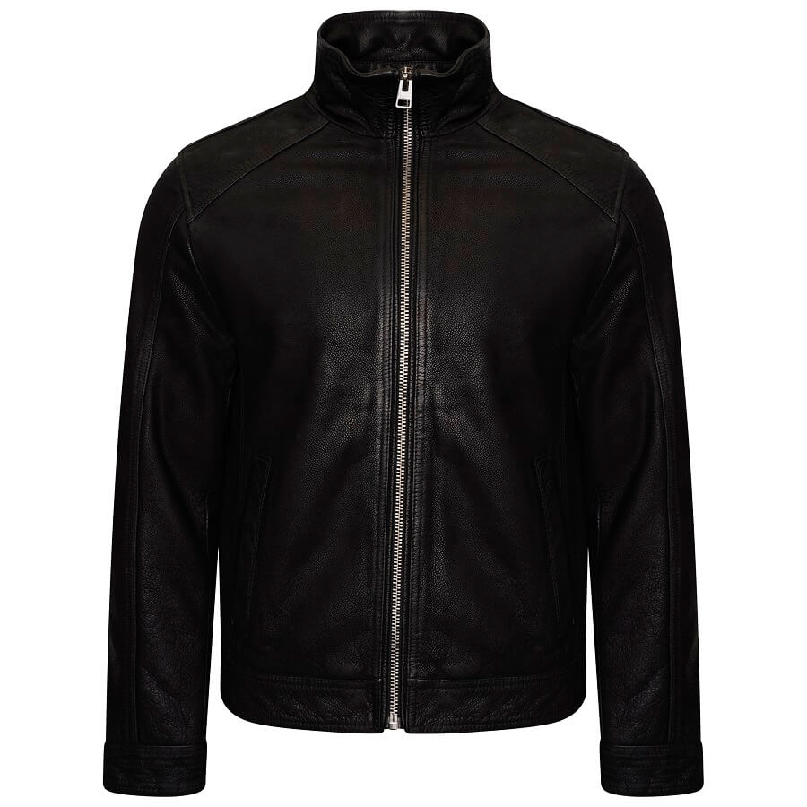 Image displays the Barneys Originals real leather jacket shot on an invisible mannequin. The leather has a subtle rambler texture and has silver hardware. The jacket has long sleeves and a high neckline.