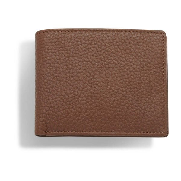 Image displays a closed brown leather wallet to fully display what the wallet looks like folded closed. You can also see the wrinkled texture of the leather used on the wallet.