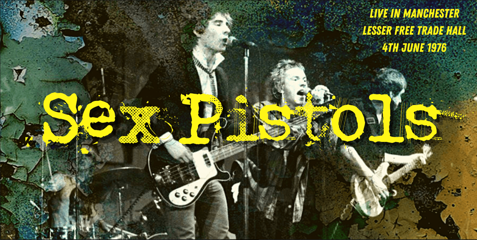Image displays a promotional poster for the 1975 sex pistols gig at the Trade Hall.