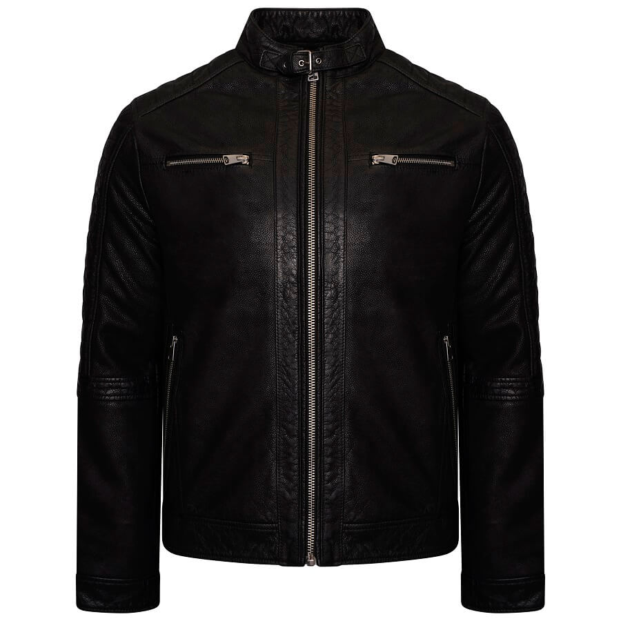 Image displays the front of the Barneys Originals buffalo leather racer jacket shot on an invisible mannequin. The jacket is black with silver hardware and features four pockets - two on the chest and two on the waist.