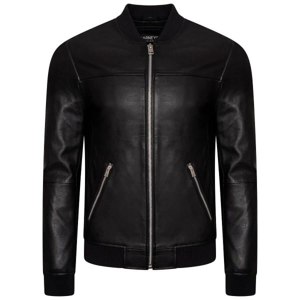 Image displays the men's leather jacket bomber jacket as shot on an invisible mannequin. THe jacket is fully zipped, with silver hardware and a symmetrical zipline. The jacket has elasticated cuffs, neckline and waistline. It also has full length sleeves.