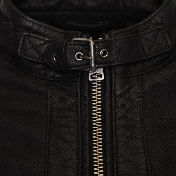 Image displays a close up of the buffalo leather jacket neckline to display the buckle fastening. This is a common feature on racer style jackets.