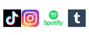Image displays 4 social media/blogging platforms to display the variety of mediums on offer for you to start a blog. From left to right: Tiktok, Instagram, Spotify and Tumblr