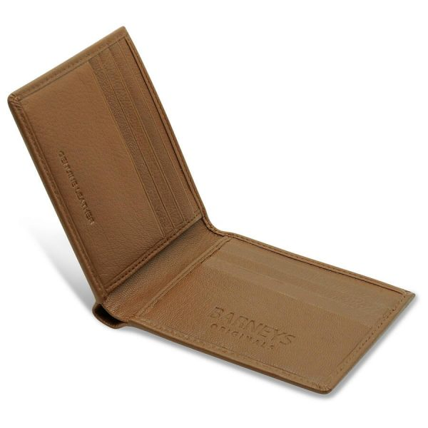 Image displays the tan leather wallet open. The wallet folds open and closed. The wallet has 4 slots on each side totalling to 8 slots overall.