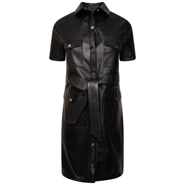 Image displays the leather dress for women shot on an invisible mannequin.