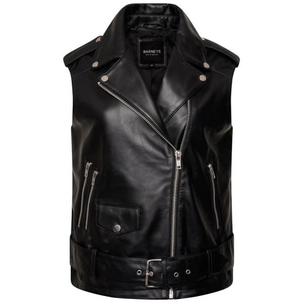 Image displays the leather vest zipped halfway to display the asymmetric zipline which extends to the left of the body (as worn). The jacket is shot on an invisible mannequin. It has an adjustable belt on the waistline and three zip pockets. Each lapel features a pop stud accent. All the hardware is silver and the ;eather itself is black. You can also slightly see the black polyester lining of the jacket as it is open slightly at the front.