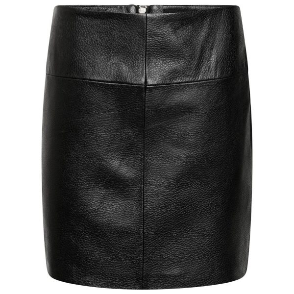 Image displays the leather mini skirt as shot on an invisible mannequin. It is a basic black leather mini skirt with no extra colour or patterns. The leather does have a grainy texture and is panelled in 4 sections with a centre stitch.