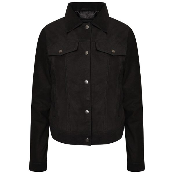 Image displays the fringed suede jacket from the front. The jacket is black with silver pop studs to fasten the jacket closed. The jacket is in a trucker design, meaning it has a collar, two chest pockets and is symmetrical. From the front, the fringing of the jacket cannot be seen.