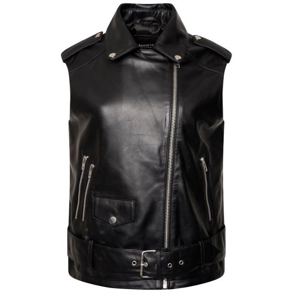 This image shows the leather motor cycle vest as shot on an invisible mannequin fully zipped up. It is black and sleeveless. The zipline goes from the center of the waist twards the left shoulder (as worn).
